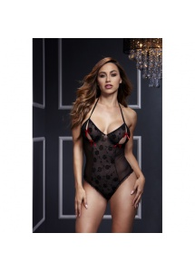 SexShop - Body z wycięciami na piersiach - Baci Black Lace Bodysuit & Bra Slits Red Bow   - online